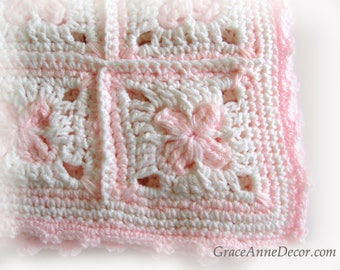 Baby Afghan Blanket White and Pale Pink Granny Squares Handmade Crochet Shower Gift Nursery Decor
