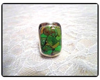 Big Bold Sterling Silver Ring Signed TGGC 925 - Gemporia Copper Green Turquoise Gemstone Ring - Modernist Rectangle - R-286e-061517045