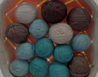 Mixed Lot - Dusty green Brown Cream White - Box of vintage yarn for knitting - 700 g (24.7 oz)