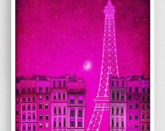 30% OFF SALE: The lights of the Eiffel tower, pink - Paris illustration Art Illustration Print Poster Prints Paris decor Home decor Architec