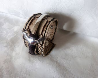 leather and metal silver Cuff Bracelet