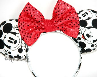 The many faces of Mickey || Classic Mickey Print Mouse Ears || Black, White & Red Mouse Ears || by Born Tutu Rock