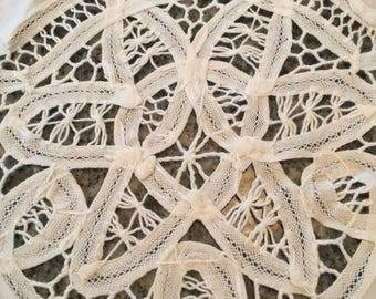 "Vintage Battenberg Lace and Cotton Circular Tablecloth, 64"" diameter"