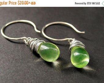 SUMMER SALE STERLING Silver Wire Wrapped Earrings - Lemon Lime Clear Teardrop Earrings. Handmade Jewelry.