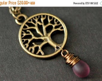 BACK to SCHOOL SALE Tree Necklace. Bronze Tree of Life Necklace. Wire Wrapped Frosted Purple Teardrop Necklace. Handmade Jewellery.