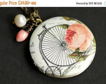 BACK to SCHOOL SALE Penny Farthing Locket Necklace. Vintage Bicycle Necklace with Pink Coral Teardrop and Fresh Water Pearl. Pink Necklace.