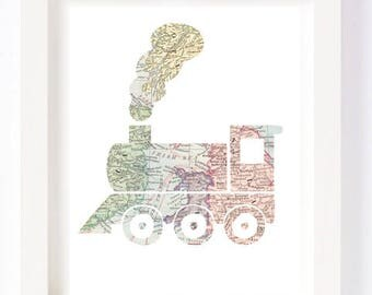 Printable - Train Vintage World Map Kid Playroom Travel Nursery Wall Art Print digital design diy instant download