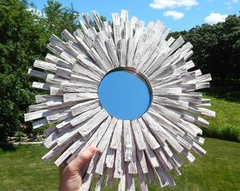 Whitewashed Wood Sunburst Mirror, Beach Wall Art, Driftwood Mirror MADE TO ORDER