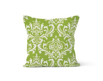 Green Damask Pillow Cover - Osborne Chartreuse - Lumbar 12 14 16 18 20 22 24 26 Euro - Hidden Zipper Closure
