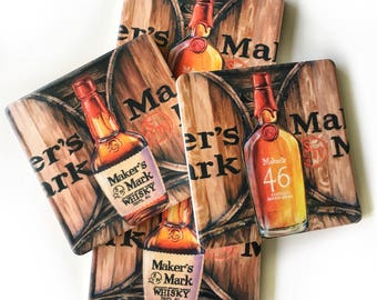 Makers Mark marble drink Coasters: bourbon, barware drinkware, man cave, hostess wedding gift, whiskey, stock the bar, for him, Kentucky