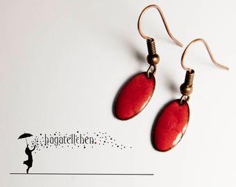 red enamel earrings, 1cm