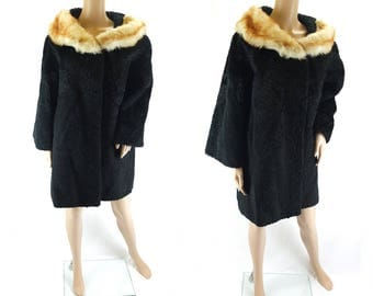 Vintage 1970s Black Persian Lamb Swing Coat with Fur Collar  Astrakhan - Size 12 UK