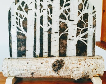 Fused Glass, Birch Tree Candle Holder