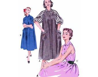 1953 Shoulder Baring Tent Dress, Morning Dress, Turn-back Cuffs or Full Gathered Raglan Sleeves, Collar, Hip Pockets Butterick 6748 Bust 34""
