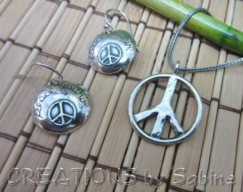 Silver Earrings & Pendant Necklace Set Peace Within Sign Symbol Jewelry 925 Sterling Israel Hammered Dangle Vintage FREE SHIPPING (656)