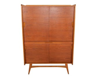 tall german mid century modern teak bar cupboard by behr