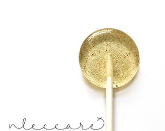 Honey and Cardamom Lollipops // Savory Candy // Gold Lollipops // Fresh Ground Spices // Honey Lollipops // Leccare Lollipops // 12 ct