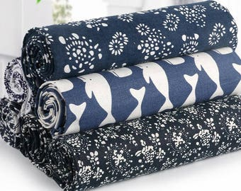 Japanese Style Hand DIY Gilding Floral Printed-Natural Cotton Linen Fabric Cloth for Curtain/Table Cloth/Cotton Cloth/Sofa/Cushion