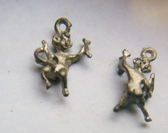 Vintage Metal Cupid Charms x 4