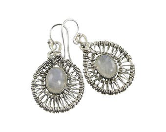 Rainbow Moonstone Sterling Silver Web Earrings