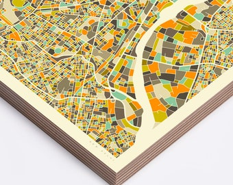 NEW DELHI MAP (Ready to Hang, Birch Wood Print for your Home Décor)