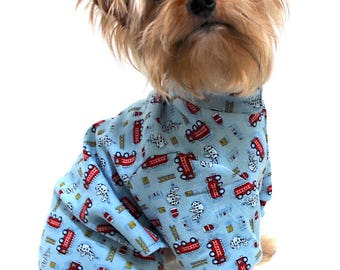 Cute Dog Pajamas, size XS Jersey Blue Firetruck Onesies for dogs, Dog Onesie Fashion Dog Clothes