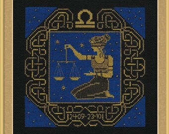 Zodiac Sign Libra Counted Cross Stitch Kit Riolis