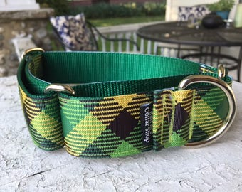 "Green Plaid for Cass 1.5"" Martingale Collar"