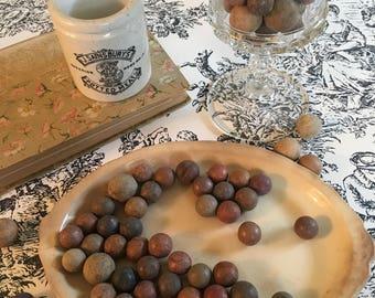 Vintage lot of clay marbles over 30 jar filler toys