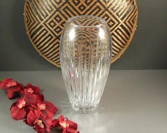 """Miller Rogaska Crystal 10"""" Vertical Cut Vase / Signed"""