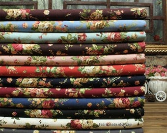 Floral Linen Cotton Blend Fabric, Vintage Rose Flower Linen Fabric for Dress Bag Craft  - 1/2 yard