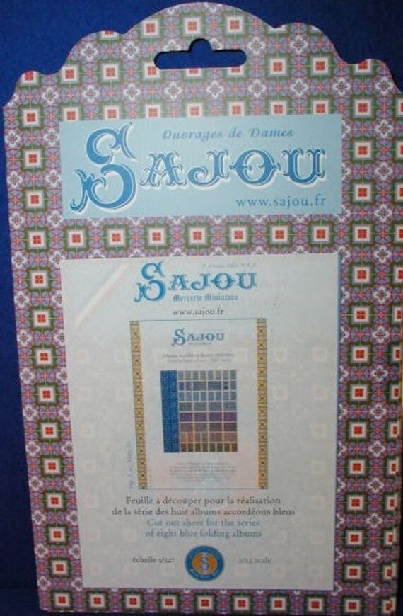Stitching cards, manuals, albums, book Sajou, DIY kit from paper in miniature for the Doll House, dollhouse miniatures, blue