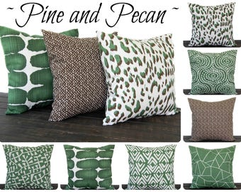 Throw Pillow Cover, Cushion Cover, Decorative Pillow, Pine Green, Pecan Brown, French Light Gray White Slub Canvas Home Decor Pillow Covers