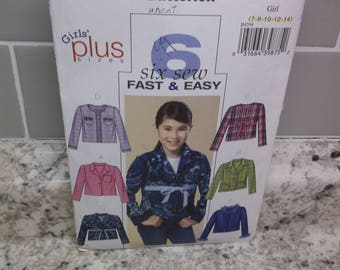 Butterick pattern for Girls, Plus Sizes 7 through 14, Jacket, with six variations.  This is an uncut pattern