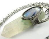 the seedling - celadonite quartz phantom crystal & moonstone pendant