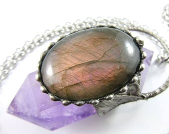 psyche - pink labradorite & amethyst crystal pendant