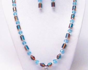 Mixed Teal Glass Bead Necklace & Earrings Set