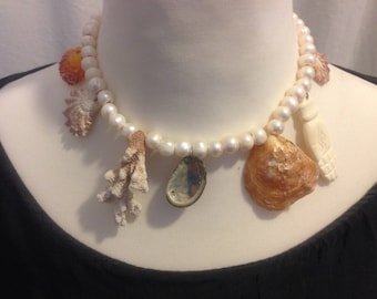 Pearls Beach Shells Coral Oxbone Handcarved Hand of Fatima Necklace