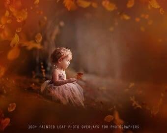 100+ Painted Leaf Photo Overlays, Photoshop Overlays, Leaf Overlays for Photographers, High quality Leaf Overlays