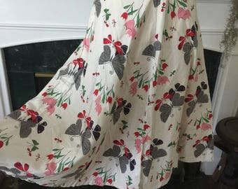 50s Butterfly Print Cotton Summer Skirt