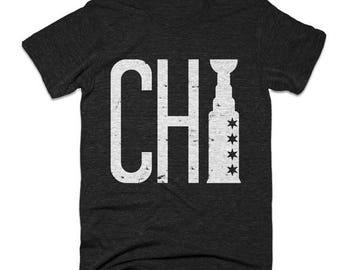 End of Summer SALE Chicago Blackhawks Shirt - Chi Cup - Chicago Shirt - Men's Unisex Sizing - Vintage Print -