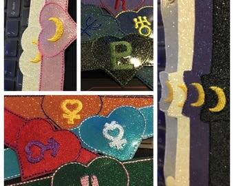 Sailor Moon Inspired Vinyl Embroidered Bracelet