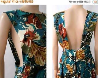 1990 Floral Dress open back size10 /90s summer dress open back 10