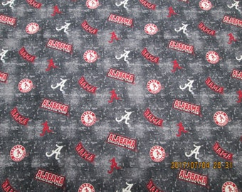 """University  of  ALABAMA  All Sport fabric """" TIDE""""  New  Style 1/2 YARD Piece  100% Cotton New Grey Wash Color Design"""