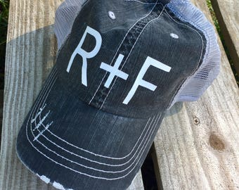 Rodan and Fields Hat // R+F Hat // distressed hat // trucker hat // rodan and fields // R+F
