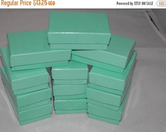 On Sale 50 TEAL-BLUE Jewelry Boxes, Cotton filled presentation gift boxes,Display Boxes 2.5x1.5