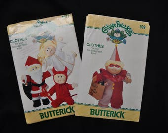 Two Costume Patterns for Cabbage Patch Dolls - Angel, Santa, Devil and Clown - Vogue Patterns 4077 & 999