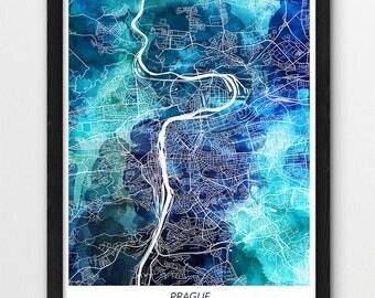 Prague Map Print, Prague Poster Print, Prague Czech Republic Urban City Street Map, Blue Watercolor Print, Modern Home Room Wall Office Art