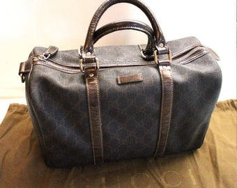 Authentic Gucci Boston Monogram Brown PVC and Leather Bag