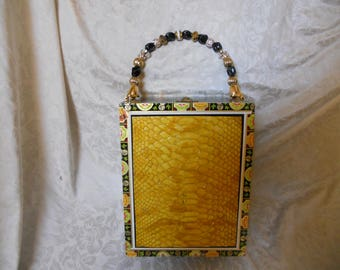 Cigarbox Purse, Yellow/Gold Embossed Snakeskin Leather, Tina Marie Purse Purse, Vintage.